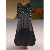 Crew Neck Polka Dot splice Long Sleeve Maxi Dress