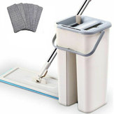 Microfibre Flat Mop and Bucket Floor Cleaner Set with Cloths Pad Wet Dry