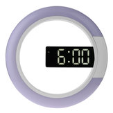 3D Led Digital Alarm Wall Clock Mirror Hollow Nightlight Living Room Decor