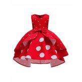 Kız Çocuk Bow Puantiyeli Fırfırlı Kolsuz Prenses Elbise