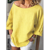 Women Long Sleeve Crew Neck Solid Casual Blouse