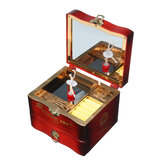Hand Crank Rotating Dancers Ballerina Music Box Metal Antique Jewelry Box New Year Gift for Girl