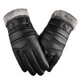 Thermal Leather Ski Gloves Man Woman Winter Warm Touch Screen Anti-slip Mitten