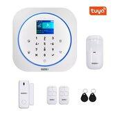 GUUDGO Tuya APP Smart WiFi GSM Sistema de alarme de segurança doméstica Detector de alarme 433 MHz Compatível com Alexa Google Home IFTTT