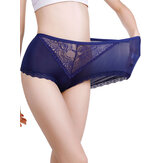 Plus Size Lace See Through High Waisted Breathable Briefs