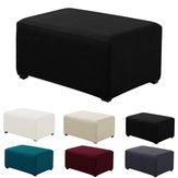 Stretchy Fabric Footstool Cover Square Ottoman Protector Stretch Slipcover for Home Sofa