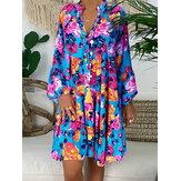 V-neck Button Long Sleeve Floral Dress
