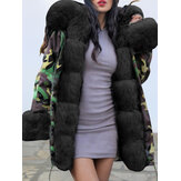 Long Sleeve Print Fur Collar Hooded Thick Coats