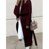 Solid Color Turn-down Collar Long Coats