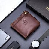 Bullcaptain Men Genuine Leather RFID Blocking Zipper Wallet