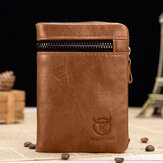 Bullcaptain Men Genuine Leather Vinatge Retro Wallet Zipper Coin Bag Card Holder