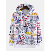 Mens Loose Fashion Loose Graffiti Letter Print Sweatshirt
