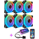 Coolmoon 6PCS 5V 3Pin RGB ajustable luz LED Computadora Caso Ventilador de PC con Control remoto