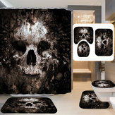 Skull Pattern Polyester Bathroom Shower Curtain Non-slip Toilet Cover Mat Rug Set