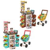Juego de niños Casa Cocina Simulación Juguetes Escáner Tarjeta de crédito Máquina Trolley Carrito de compras Caja registradora Set