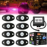 8PCS 12V USB RGB LED Car Atmosphere Lights Interior Decoration Lamp Phone bluetooth APP Control