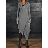 Women Cowl Neck Asymmetrical Long Sleeve Split Midi Dress