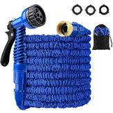 25-200FT EU / US Standard erweiterbar Magic Blue Flexibler Gartenwasserschlauch Autoschlauchrohranschlüsse Kunststoffschlauch Gartenbewässerungssets mit Wasserdusche