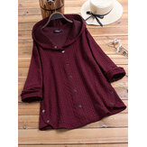 Jacquard Side Button Knitting Hooded Long Sleeve Coats