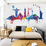 Loskii FX82039 World Architectural Wall Sticker Removable Wall Art Stickers Vinyl Decals Home Decor Living Room