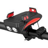 Ricaricabile USB LED Faro bici Bicicletta Horn Manubrio Supporto telefono Ciclo VC