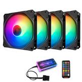 Coolmoon 4 STKS 12 monochromatisch licht 120 mm verstelbare RGB PC-ventilatoren Dempen CPU-koelventilator met de afstandsbediening