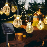 12M 8 Modi 100LED Solar String Light Crystal Ball Fairy Lamp Wedding Holiday Home Wedding Party
