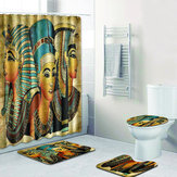 4Pcs Bathroom Suit Ancient Egyptian Waterproof Toilet Cover Rug Mat Set Flannel Bathroom Shower Curtain