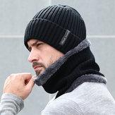 フリース裏地付き暖かいビーニー帽子ニット帽子スカーフ