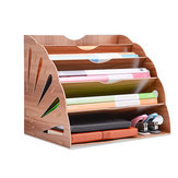5 Layers Fan Shaped Wooden File Holder Bookshelf Desktop Organizer Storage Shelf A4 File Tray Books Holder Office School Home Supplies