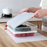 Plastic Transparent Single-Layer Sealed Box Food Refrigerator Storage Rack with Locking Lids