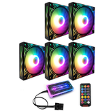 Coolmoon BILLOW 5PCS Colorful Backlight 120mm CPU Cooling Fan Mute PC Heatsink with the Remote Control