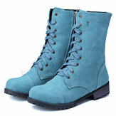 Women Plus Size Motorcycle Round Toe Retro Mid Calf Boots