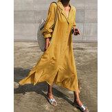 Pure Color Turn-down Collar Split Hem Casual Maxi Shirt Dress