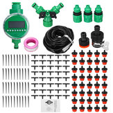 15/25/30/40/50m Drip Hose Water Irrigation System + Auto Timer Greenhouse Plants Kit