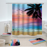 Beach Sunset Style Waterproof Bathroom Shower Curtain Toilet Cover Mat Non-Slip Rug Set for Bathroom Home Hotel