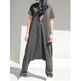 Femmes Casual Loose Short Sleeve Hoodie Harem Pants salopette