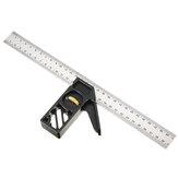 Drillpro Ajustável 300mm Liga de Alumínio Combinação Quadrado 45 90 Graus Régua de Aço Scriber Régua Localizador de Linha de Marcenaria Ferramenta de Medição de Carpinteiro DIY