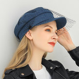 Denim Mesh Navy Cap Peak Cap Flat hats