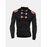 Cuernos de moda Botones Diseño suéteres de patchwork ocasional de punto de cuello alto suéter para hombres