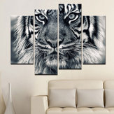 Miico Hand Painted Four Combination Decorative Paintings Tiger Head Wall Art For Home Decoration