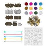 55pcs / set moules et outils de moulage en silicone bijoux pendentif moule en résine bricolage