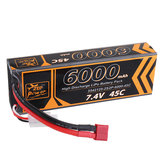 ZOP Power 7.4V 6000mAh 45C 2S Lipo Battery T Plug for HPI 1/8 RC Car