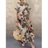 Damen Baumwolle Rundhalsausschnitt Locker Baggy Print Maxi Kleid