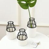 Estante para el hogar Black Metal Rack Cerámico Flower Pot Garden Planta Suculento Stand Holder Decoración