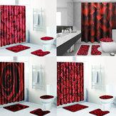 4 teile / satz bad duschvorhang set mit haken waschbar wc sitzbezug sockelteppich deckel wc