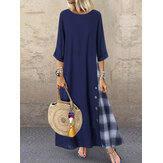 Crew Neck Contrast Color Splice Half Slevee Casual Dress