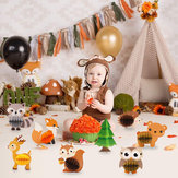 7/8 Pcs Woodland Animal Honeycomb Pusat 3D Table Party Dekorasi Bertema