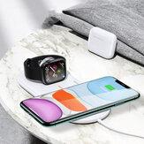 USAMS US-CD119 dubbele spoelen 10W Qi draadloze oplader telefoonlader oortelefoon oplader horlogeoplader voor smartphones met Qi Apple AirPods Pro Apple Watch-serie 1 2 3 4 5