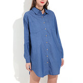 Long Sleeve Turn-down Collar Denim Mini Dress Casual Shirts